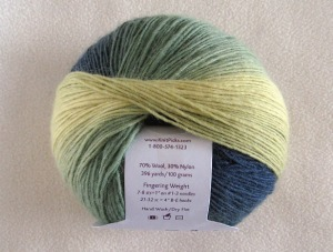 A ball of Chroma Fingering yarn.