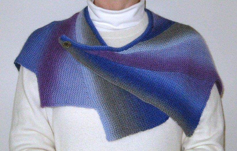 Wearing the Wingspan shawl.