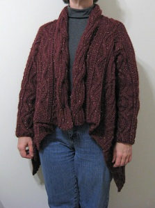 Aran Wrap Cardigan, front view