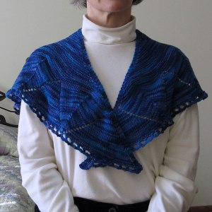 Front view of blue Damson shawlette