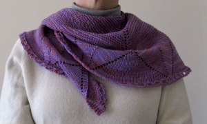 Photo of Damson shawlette worn around neck