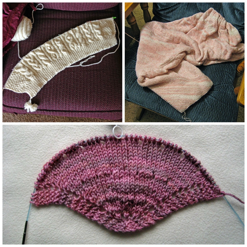 collage photo of three knitting projects