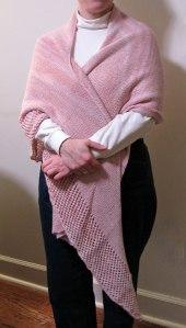 Viajante shawl worn as a wrap.