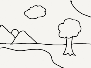 drawing of a tree by a lake