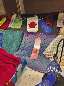 Elnora Cowl in a display case at the state fair.