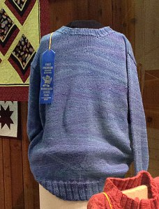 Wedge Pullover in state fair display case.
