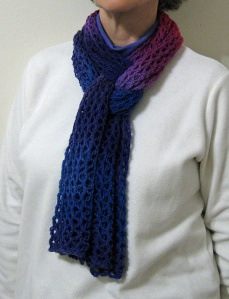 Lupine Scarf being worn.
