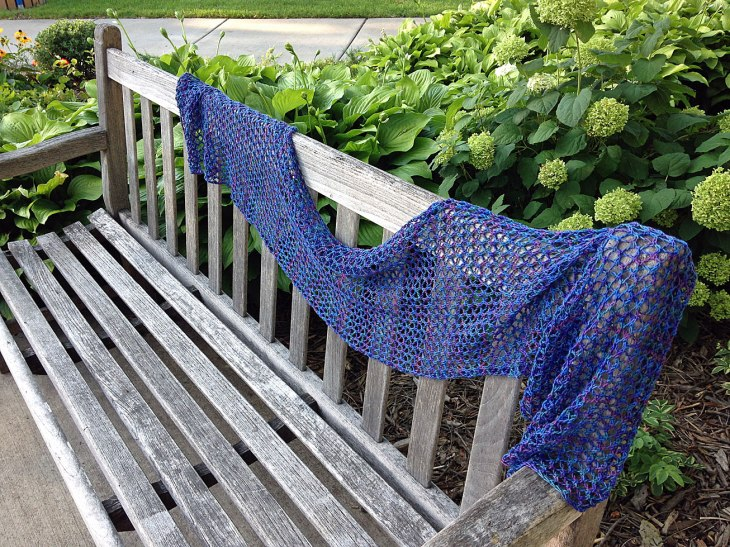 Tahoe Scarf draped across a bench.