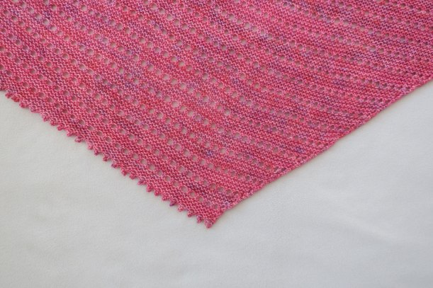 Close-up photo of the Be Simple Variations shawlette.