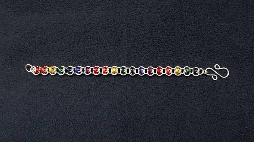Chain maille bracelet, double orbital weave