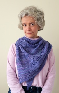 Me wearing the Wild Violets shawl