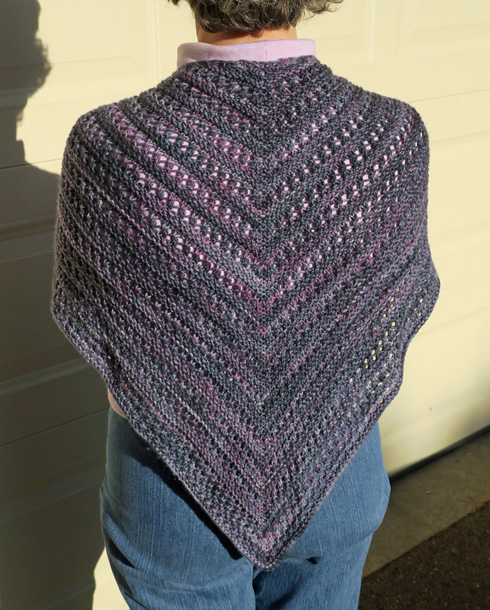 Iolite shawl, seen from the back.