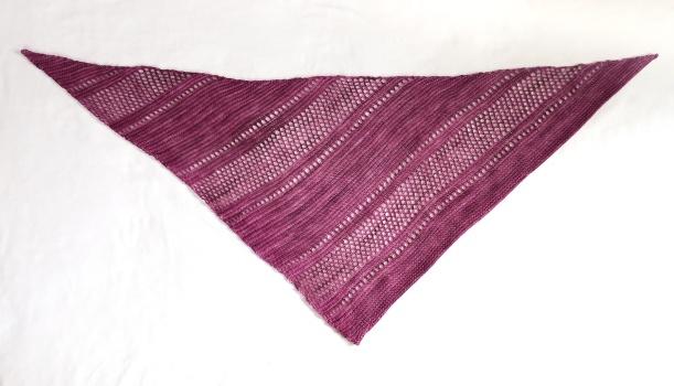 Rose Ardent shawlette laid flat.